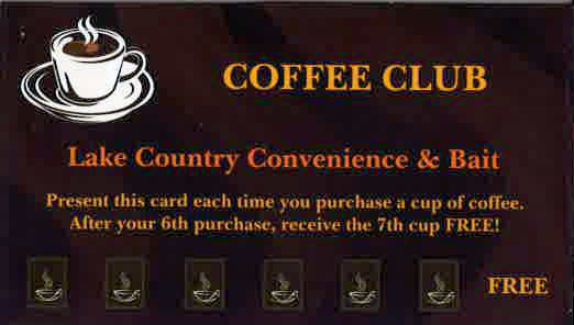 Coffee Club Card from Lake Country  Convenience & Bait