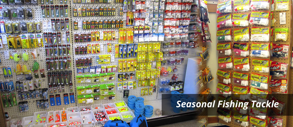 Aisle of fishing lures, minnow buckets and more - Seasonal Fising Tackle
